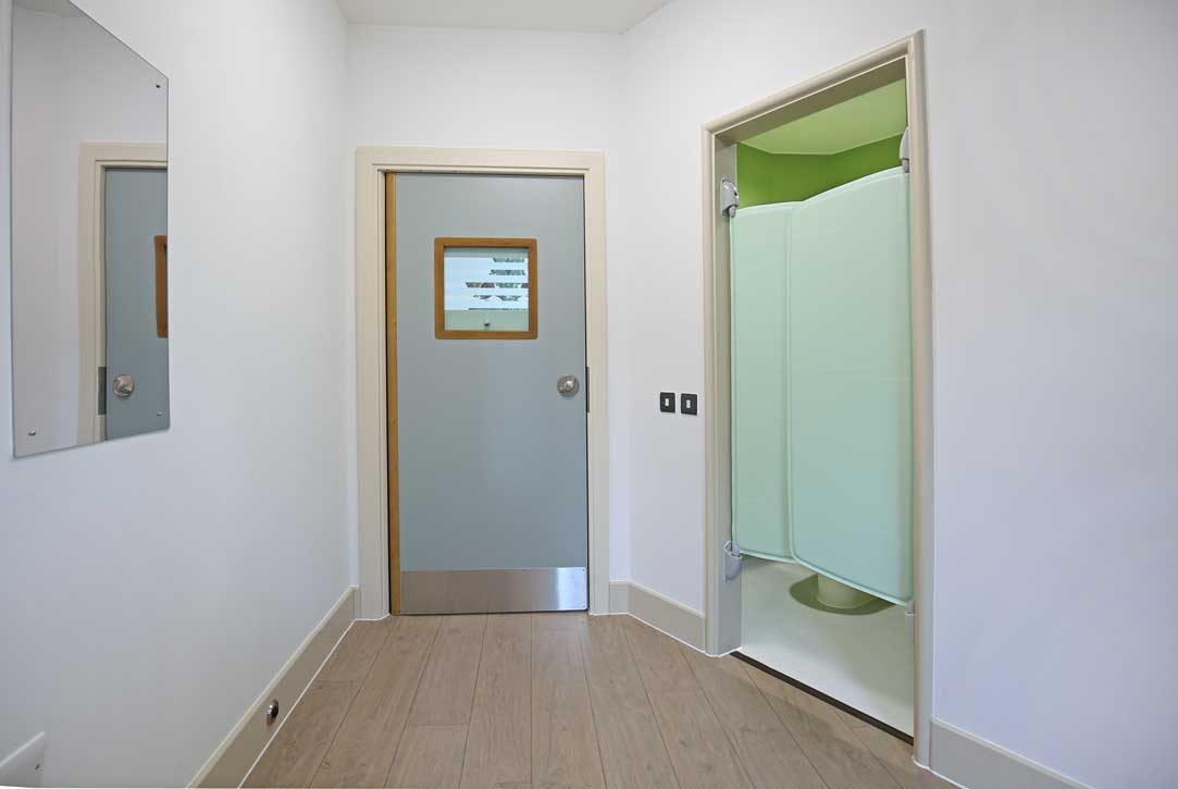 En-suite door at PICU, Devon NHS Partnership Trust